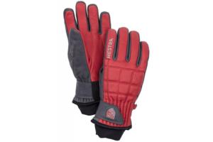 Hestra Henrik Leather Pro 5 finger röd grå snygg skidhandske i skinn