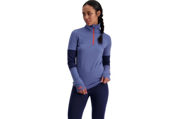 Mons Royale Cornice Halfzip blue velvet 1 ull unsresrälls tröja