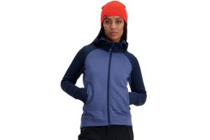 Mons Royale W Nevis Wool Fleece Hood Blue skön tröja i ull