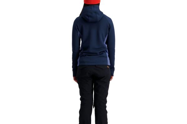 Mons Royale W Nevis Wool Fleece Hood Blue Back