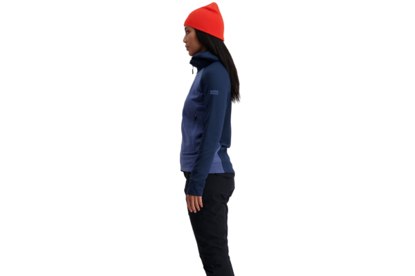 Mons Royale W Nevis Wool Fleece Hood Blue Side