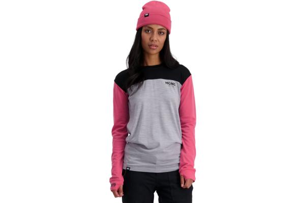 Mons Royale W Yotei BF Tech LS Pink Black skön och snygg underställs tröja i ull