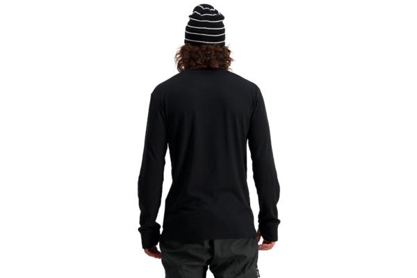 Mons Royale Yotei Tech LS Black back skön underställs tröja i ull bakifrån
