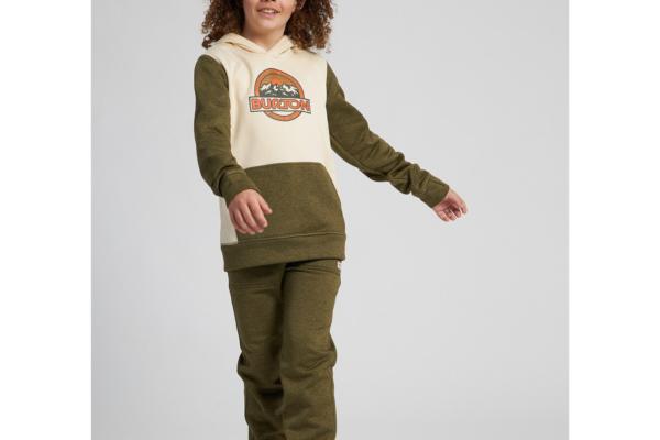 Burton Kids oak pullover hoodie heather martini olive heather 1