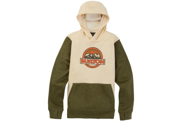 Burton Kids oak pullover hoodie heather martini olive heather snygg hood tröja