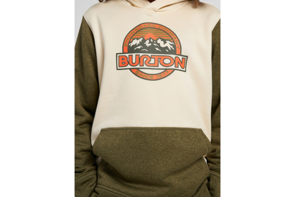 Burton Kids oak pullover hoodie heather martini olive heather detalj