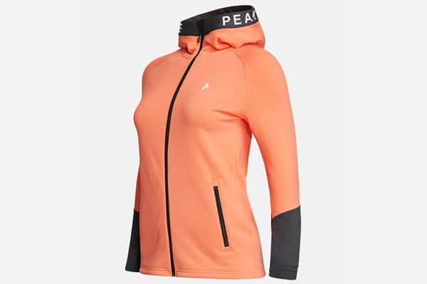 Peak Performance W Rider Zip Hood Light Orange-Motion Grey 2 lager 2 tröja