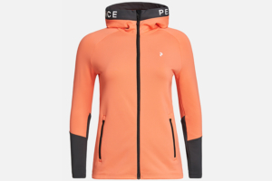 Peak Performance W Rider Zip Hood Light Orange-Motion Grey mellanlagertröja