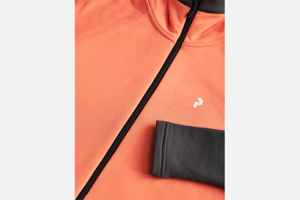 Peak Performance W Rider Zip Hood Light Orange-Motion Grey Detalj 2